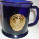GORGEOUS COBALT BLUE GLASS MUG US PRESIDENT & VICE PRESIDENT INAUGURATION 2005