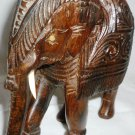 VINTAGE WOOD CAVED ELEPHANT FIGURINE ORNATED ONE WHITE TASK MISSING