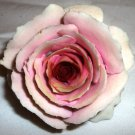 DELICATE SCULPTURED PINK ROSE FIGURINE SIGNED !MUST SEE!