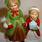 VINTAGE HOMCO #5310 CHRISTMAS VILLAGE KIDS WITH GIFTS