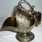 VINTAGE SILVER & GOLD PLATED OPEN SUGAR SCUTTLE & SCOOP FLORAL DESIGN
