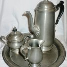 VNTG ONEIDA HEIRLOOM PEWTER 4-PC COFFEE SET - COFFEE POT CREAMER SUGAR BOWL TRAY