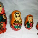 VINTAGE CARVED & HANDPAINTED MATRESHKA NESTING DOLL SET 5 RUSSIAN