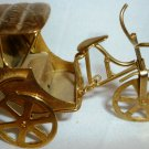 VINTAGE MINIATURE BRASS RICKSHAW CARRIAGE & TRICYCLE MOVABLE PARTS DOLLHOUSE