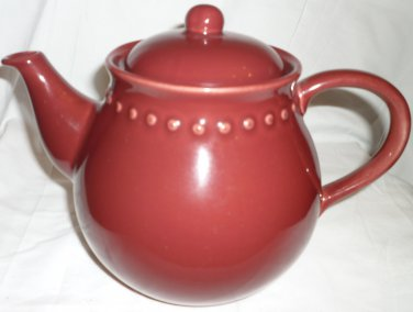POTTERY BARN CERAMIC EMMA BURGUNDY TEAPOT PORTUGAL NEW