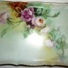 VINTAGE HANDPAINTED FLOWERS PORCELAIN LM LIMOGES FRANCE SMALL RECTANGULAR DISH