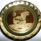 VINTAGE COMMEMORATIVE SMOKE GLASS & GILDED EAGLE SMALL PLATE APOLLO 11 1969