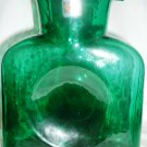 BLENKO HANDCRAFTED GLASS DOUBLE SPOUT WATER PITCHER BOTTLE EMERALD GREEN