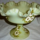 FENTON DAISIES ON CUSTARD SATIN GLASS RUFFLED EDGE COMPOTE SIGNED