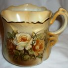 ANTIQUE BRANDENBURG PORCELAIN HANDPAINTED ROSES GOLD TRIM MUSTACHE TEA MUG