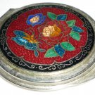 FOLDABLE CLOISONNE COVER ENAMEL METAL HAND PURSE MIRROR
