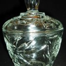 VINTAGE CUT CLEAR CRYSTAL GLASS STARS LIDDED CONDIMENT DISH