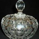 VINTAGE CRYSTAL CLEAR GLASS LIDDED BOWL VANITY