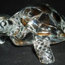 STUNNING BIG CLEAR GLASS FIGURINE TURTLE