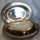 VINTAGE SMP SILVERPLATED CHAFFING HOT SERVER DISH X 2 W/LID