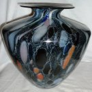 STUNNING SPECKLED MULTI COLOR MARBLE ART GLASS FLORAL VASE MURANO GLASS ITALY