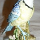 PORCELAIN BISQUE BLUE JAY BIRD DEYAILED FIGURINE