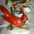VINTAGE PORCELAIN RED CARDINAL BIRD FIGURINE NEST CANDLEHOLLDER JAPAN