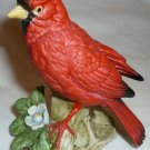 PORCELLAIN BISQUE RED CARDINAL BIRD FIGURINE