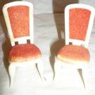 VINTAGE REDBOX DOLLHOUSE SET OF 2 RED FELT VICTORIAN CHAIRS