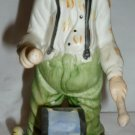 CHARMING PORCELAIN BISQUE HANDPAINTED CLOWN PLAYING DRUM FIGURINE