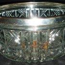 VINTAGE CUT CLEAR LEAD CRYSTAL GLASS BOWL SILVERPLATE TRIM BOWL FRUIT ENGLAND