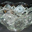 VINTAGE L.E.SMITH CUT GLASS FRUIT VASE BOWL STARS & BUTTONS DESIGN