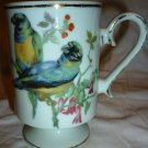 VINTAGE ROYAL CROWN COFFEE TEA PEDESTAL MUG CUP PARAKEETS PARROTS BIRDS