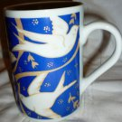 WCL PORCELAIN COFFEE TEA MUG CUP BLUE/WHITE DOVES FOR PEACE