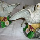 VINTAGE PORCELAIN BISQUE SEAGULL BIRD FIGURINE SET OF 2