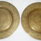 BEAUTIFUL VINTAGE SOLID BRASS BRONZE PEAKOCK EMBOSSED PLATES SET OF 2 WALL MOUNT