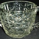 VINTAGE DOUBLE HANDLED OPEN SUGAR BOWL CLEAR CUT GLASS HAZEL ATLAS