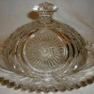 GORGEOUS VINTAGE OVAL CLEAR CUT GLASS COVERED BUTTER CHEESE DISH SAWTOOTH EDGE