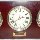 WOODEN W/BRASS MANTEL/WALL 3 FACE WORLD CLOCK BY MAKERS TO ADMIRALTY MERMAID