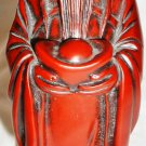 BEAUTIFUL CHINESE FIGURINE MONK WITH BOWL FOR PROSPERITY RED LACQUER