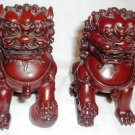 BEAUTIFUL CHINESE FIGURINE SET OF 2 FOO DOGS HOME PROTECTORS RED LACQUER