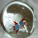 BEAUTIFUL MURANO CONTROL BUBBLES GLASS AQUARIUM FISH PAPER WEIGHT