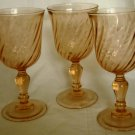 VINTAGE PINK PEACH SWIRL GLASS GOBLET STEMMED WINE GLASSES SET OF 3 FRANCE