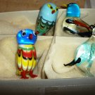 CHARMING ART GLASS STUDIO BLOWN & APPLIED GLASS SET OF 4 BIRDS FIGURINES NMB