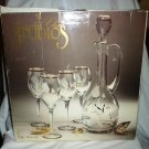 CRYSTAL CLEAR STUDIOS 5pcs WINE SET MOUTH BLOWN HAND CUT CRYSTAL 24K ACCENTS NMB