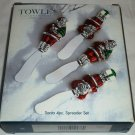 TOWLE SILVERSMITH CHRISTMAS DECOR COLORFUL SANTA 4 PCS SPREADER SET