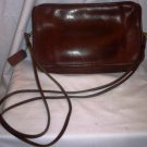 VINTAGE COWHIDE BROWN COGNAC LEATHER BASIC SHOULDER ZIPPERED PURSE #318-4202 USA