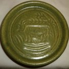 GREEN POTTERY CERAMIC COASTER VOTIVE CANDLEHOLDER