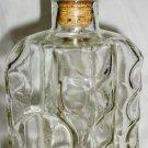 VINTAGE CLEAR THUMBPRONT BUBBLE GLASS SQUARE LIQUIOR DECANTER BOTTLE