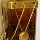 VINTAGE DARK AMBER GLASS INCASED BRASS EMPTY LIQUIOR BOTTLE DECANTER MUSIC BOX