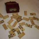 ANTIQUE IVORY HANDMADE BONE MINIATURE PORTABLE DOMINOES ORIGINAL LEATHER CHEST