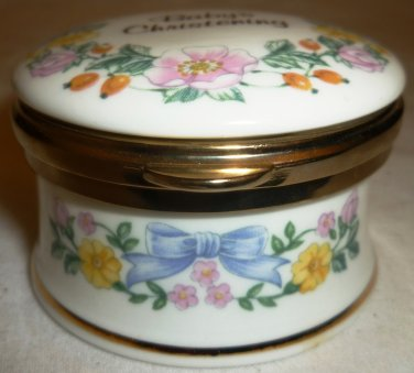 VINTAGE FALCON CHINA STAFFORDSHIRE BONE CHINA TRINKET BOX BABY' CHRISTENING BOY