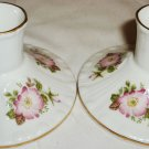 FINE BONE CHINA ROYAL GRAFTON ENGLAND JACOBEAN ROSE CANDLEHOLDERS SET OF 2