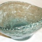 BEAUTIFUL CRACKLED BLUE GLASS BLESSINGS BOWL