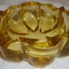 VINTAGE YELLOW GLASS INDIVIDUAL CIGARETTE ASHTRAY